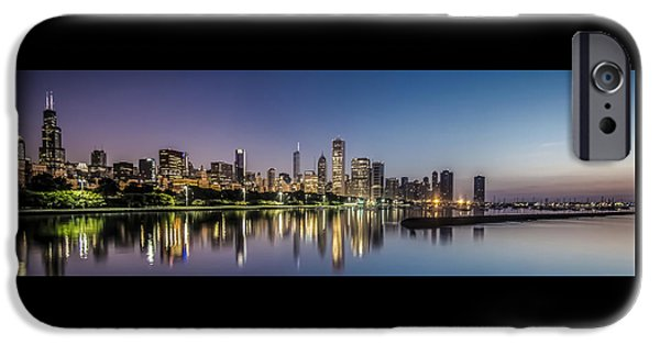 Willis Tower iPhone Cases - Chicago Skyline at dawn with a panoramic crop  iPhone Case by Sven Brogren