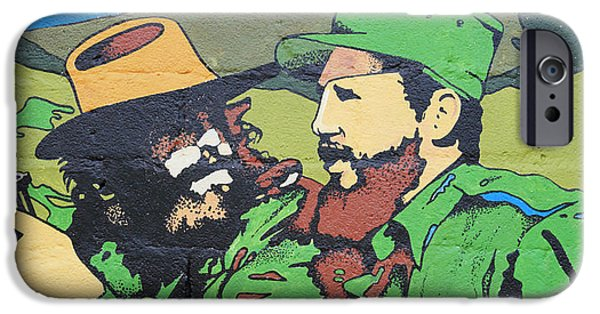 Politician iPhone Cases - Che Guevara and El Castro iPhone Case by Deborah Benbrook