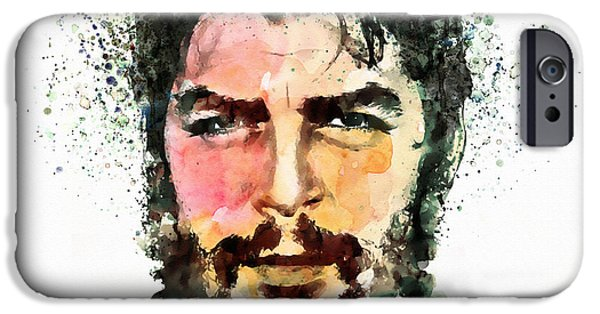 Revolution Mixed Media iPhone Cases - Che Guevara watercolor iPhone Case by Marian Voicu