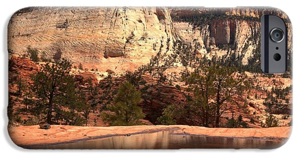 Red Rock iPhone Cases - Checkerboard Mesa Zion National Park iPhone Case by Adam Jewell