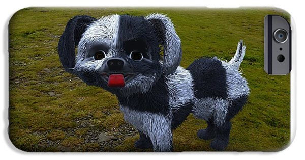 Dog Sculptures iPhone Cases - Checkmate the Dog iPhone Case by Dave Luebbert
