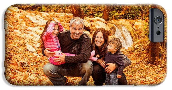 Women Together iPhone Cases - Cheerful family in autumn woods iPhone Case by Anna Omelchenko