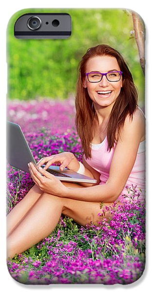 Nature Study iPhone Cases - Cheerful student girl in the park iPhone Case by Anna Omelchenko
