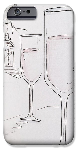 Waiter Drawings iPhone Cases - Cheers iPhone Case by Barbara Chase