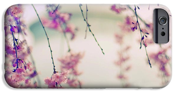 Cherry Blossoms Digital iPhone Cases - Cherry Blossom Breeze iPhone Case by Jessica Jenney