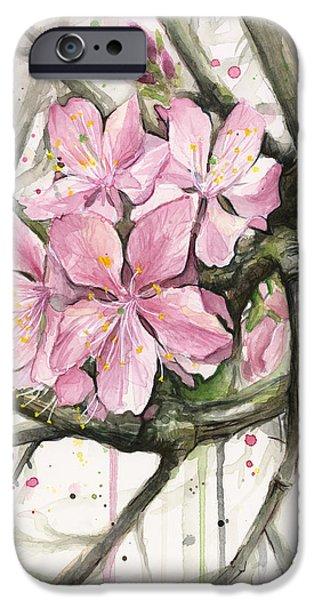 Cherry Art iPhone Cases - Cherry Blossom iPhone Case by Olga Shvartsur