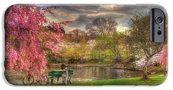 Charles River iPhone Cases - Cherry Blossom Trees on the Charles River Basin in Boston iPhone Case by Joann Vitali