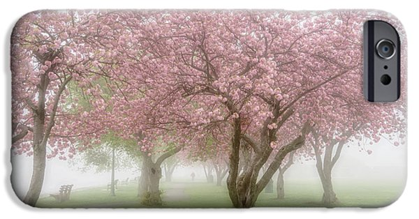 Fog Mist iPhone Cases - Cherry Blossoms iPhone Case by June Marie Sobrito