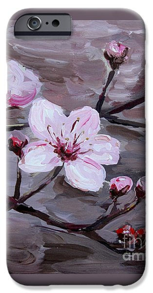Business Paintings iPhone Cases - Cherry Blossoms iPhone Case by Maria Langgle