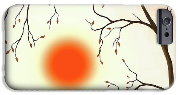 Fall Scenes iPhone Cases - Cherry Tree in Fall iPhone Case by Oleksiy Maksymenko