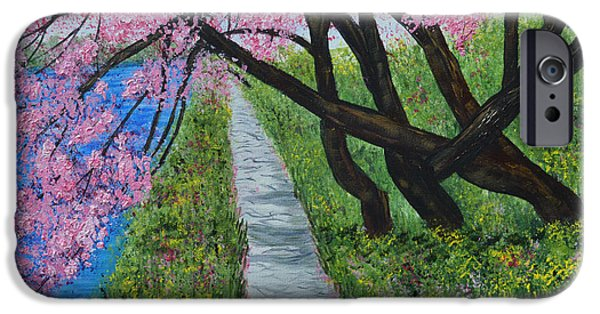 Springtime In The Park iPhone Cases - Cherry Trees- Pink blossoms- landscape painting iPhone Case by Kathy  Symonds