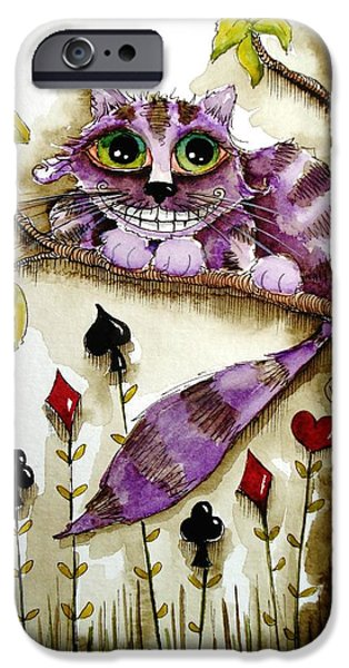 Alice In Wonderland iPhone Cases - Cheshire Cat iPhone Case by Lucia Stewart