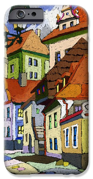 Buildings iPhone Cases - Chesky Krumlov Masna Street 1 iPhone Case by Yuriy  Shevchuk