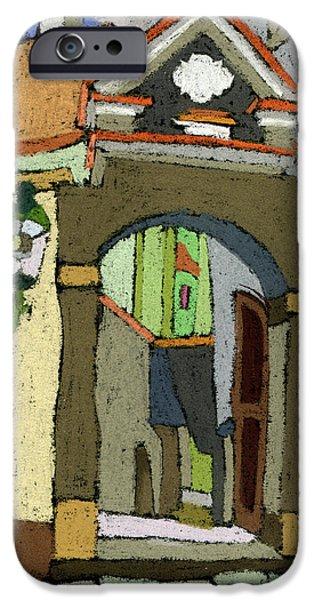 Pastels iPhone Cases - Chesky Krumlov Old Street Latran  iPhone Case by Yuriy  Shevchuk