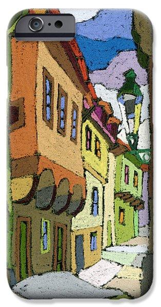 Chesky Krumlov Street Nove Mesto iPhone Case by Yuriy  Shevchuk