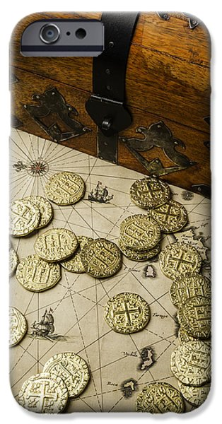 Treasure Box iPhone Cases - Chest With Pirate Treasure iPhone Case by Garry Gay