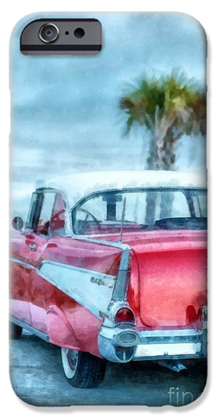 Technical iPhone Cases - Chevy Belair at the Beach Watercolor iPhone Case by Edward Fielding