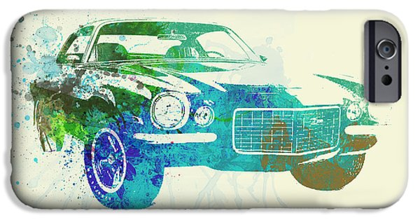 Vintage Car iPhone Cases - Chevy Camaro Watercolor iPhone Case by Naxart Studio