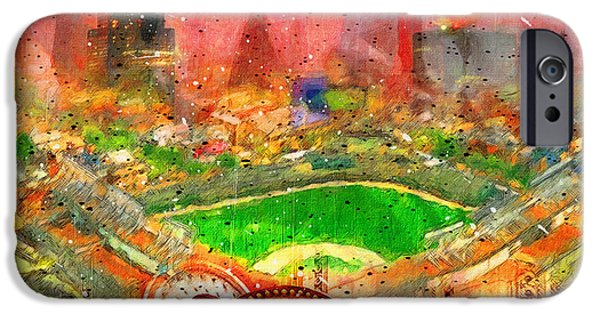 Wrigley Paintings iPhone Cases - Chicago and Wrigley Field iPhone Case by John Farr