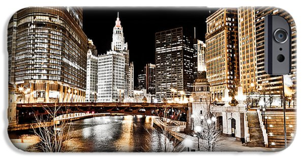 Wrigley iPhone Cases - Chicago at Night at Wabash Avenue Bridge iPhone Case by Paul Velgos
