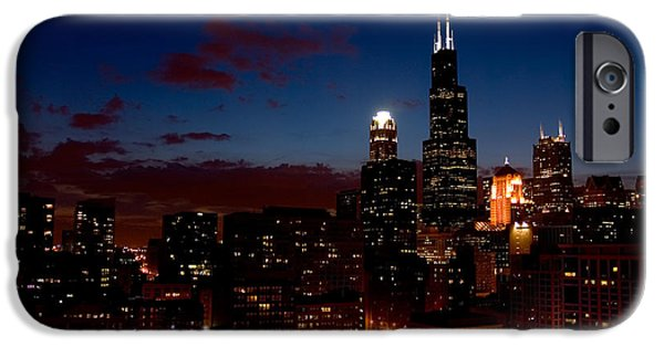 Sears Tower iPhone Cases - Chicago at Night iPhone Case by Don Mennig