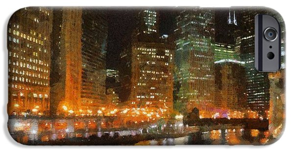 River Digital Art iPhone Cases - Chicago at Night iPhone Case by Jeff Kolker