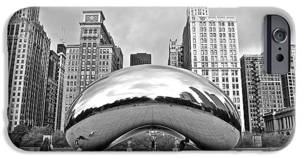 Chicago Cubs iPhone Cases - Chicago Bean in Black and White iPhone Case by Frozen in Time Fine Art Photography