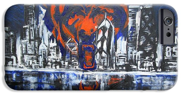 Sears Tower iPhone Cases - Chicago Bears Skyline  iPhone Case by John Sabey Jr
