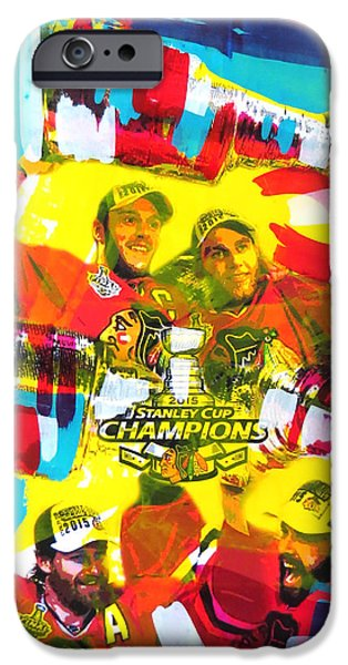 Hockey Paintings iPhone Cases - Chicago Blackhawks 2015 Champions iPhone Case by Elliott From