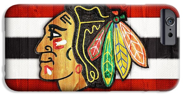 Man Cave Mixed Media iPhone Cases - Chicago Blackhawks Barn Door iPhone Case by Dan Sproul