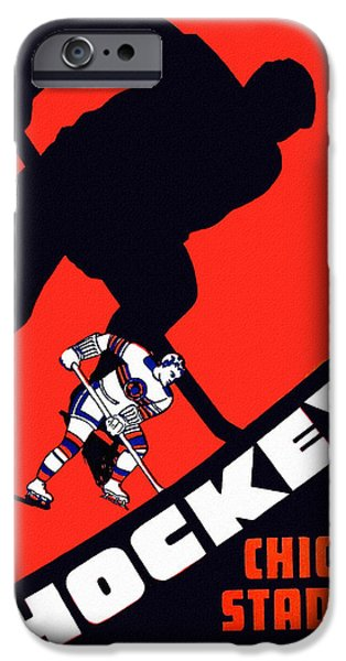 Hockey Paintings iPhone Cases - Chicago Blackhawks Vintage 1951 Program iPhone Case by Big 88 Artworks