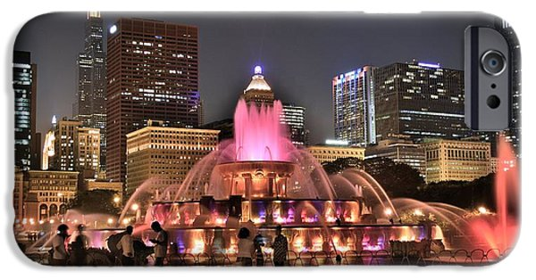 Chicago Cubs iPhone Cases - Chicago Buckingham Alight iPhone Case by Frozen in Time Fine Art Photography
