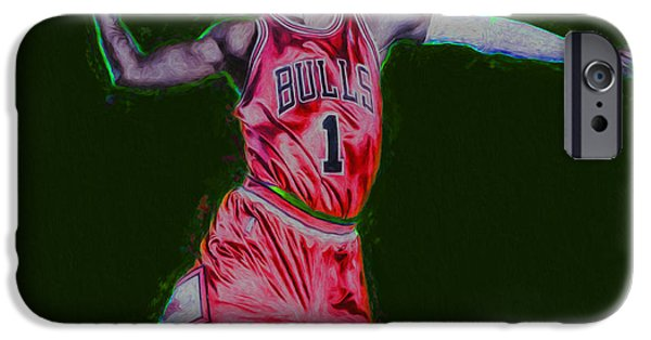 Dunk iPhone Cases - Chicago Bulls Derrick Rose Painted Digitally RED iPhone Case by David Haskett