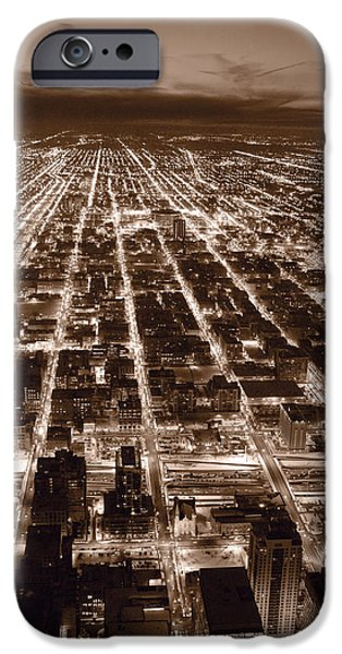 Willis Tower iPhone Cases - Chicago City Lights West B W iPhone Case by Steve Gadomski