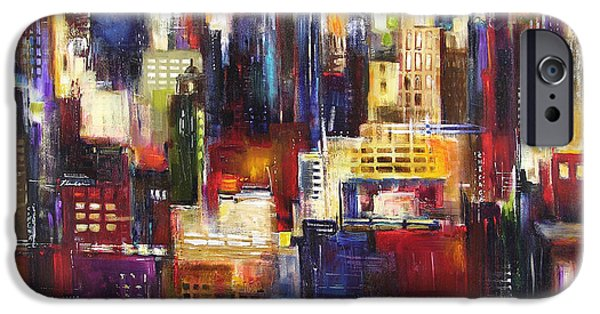 Chicago Paintings iPhone Cases - Chicago City View iPhone Case by Kathleen Patrick