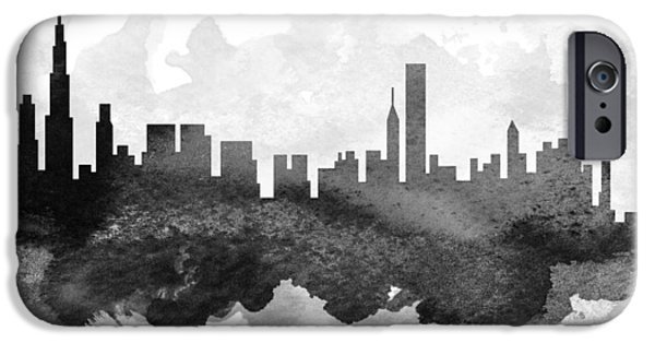 iPhone Cases - Chicago Cityscape 11 iPhone Case by Aged Pixel