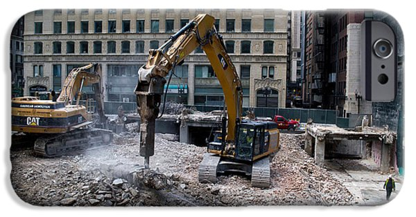 Facade Mixed Media iPhone Cases - Chicago Construction Equipment Demolition iPhone Case by Thomas Woolworth