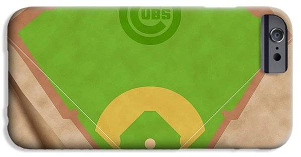 Chicago Cubs Digital iPhone Cases - Chicago Cubs Field iPhone Case by Carl Scallop