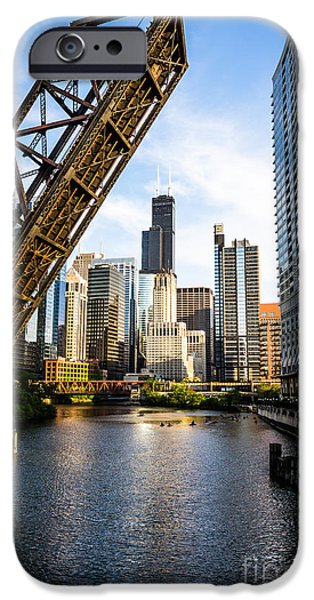 Sears Tower iPhone Cases - Chicago Downtown and Kinzie Street Railroad Bridge iPhone Case by Paul Velgos