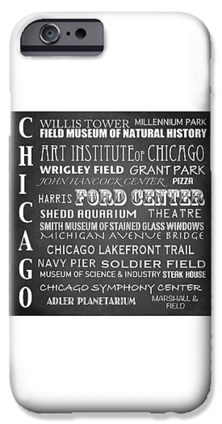 Wrigley Field Digital iPhone Cases - Chicago Famous Landmarks iPhone Case by Patricia Lintner