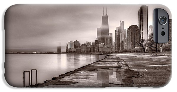 Hancock Building iPhone Cases - Chicago Foggy Lakefront BW iPhone Case by Steve Gadomski