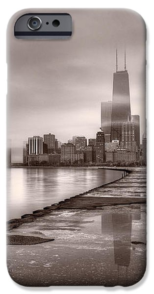 Chicago Foggy Lakefront BW iPhone Case by Steve Gadomski