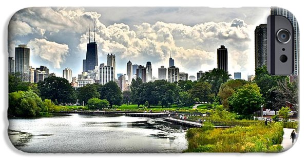 Chicago Cubs iPhone Cases - Chicago from Lincoln Park iPhone Case by Frozen in Time Fine Art Photography