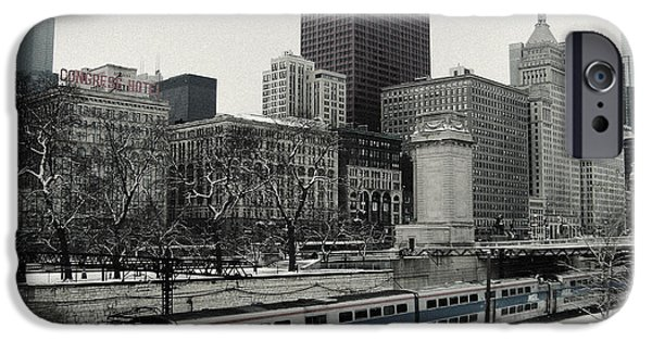 Willis Tower iPhone Cases - Chicago Grant Park Train Skyline iPhone Case by Kyle Hanson