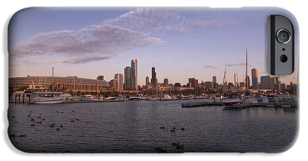 Best Sellers -  - Soldier Field iPhone Cases - Chicago Harbor and Skyline iPhone Case by Sven Brogren