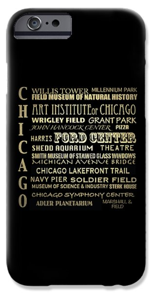Wrigley Field Digital iPhone Cases - Chicago Illinois Famous Landmarks iPhone Case by Patricia Lintner
