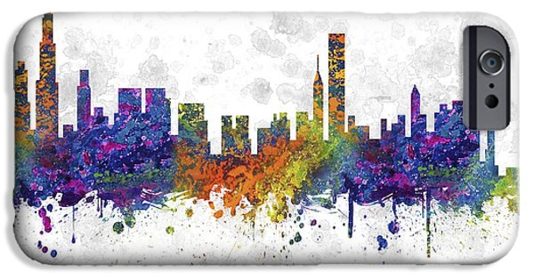 Sears Tower iPhone Cases - Chicago Illinois Skyline Color 03SQ iPhone Case by Aged Pixel
