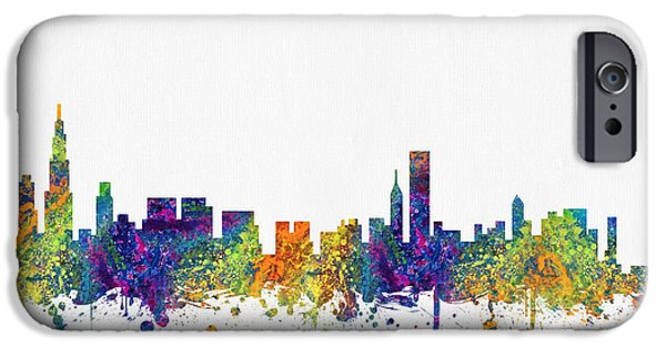 Chicago iPhone Cases - Chicago Illinois skyline color03 iPhone Case by Aged Pixel