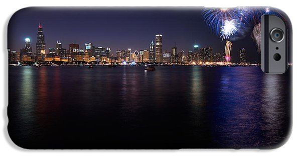 4th July iPhone Cases - Chicago Lakefront Skyline Poster iPhone Case by Steve Gadomski