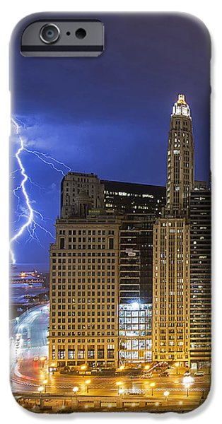 Chicago iPhone Cases - Chicago Lightning iPhone Case by Jeff Lewis